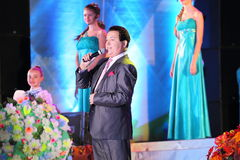 Russian famous singer Joseph Kobzon performs song Stock Photography