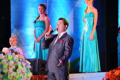 Russian famous singer Joseph Kobzon performs song Royalty Free Stock Images
