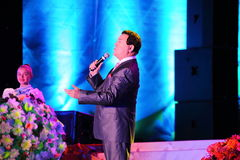 Russian famous singer Joseph Kobzon performs song Stock Photos