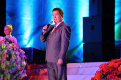 Russian famous singer Joseph Kobzon performs song Stock Images