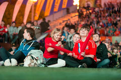 Russian fans gathered in Fanzone Royalty Free Stock Photography