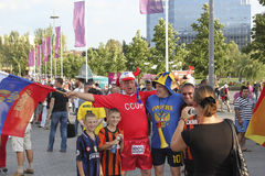 Russian Fans near the Donbass Arena Stock Image