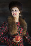 Russian fashion style portrait of young smiling Stock Photography