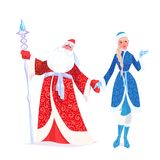 Russian Father Frost also known as Ded Moroz and his granddaughter. Russian Father Frost also known as `Ded Moroz`  and his granddaughter `Sneguroschka`. Vector Stock Image