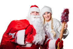 Russian father Frost and Snow Maiden Royalty Free Stock Photos