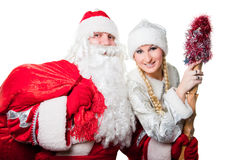 Russian father Frost and Snow Maiden Stock Photo