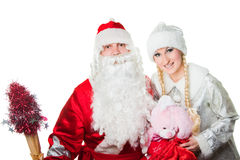 Russian father Frost and Snow Maiden Stock Images