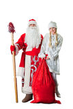 Russian father Frost and Snow Maiden Royalty Free Stock Photography