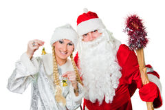 Russian father Frost and Snow Maiden Stock Photography