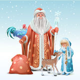Russian Father Frost, Snow Maiden, blue rooster symbol 2017 and fawn Royalty Free Stock Photos