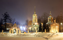 Russian Federation city of Moscow night view of the estate алтуфьево and church of Lord`s erection of Christ. Altufyevo`s estate with church of the Royalty Free Stock Photo