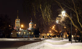 Russian Federation city of Moscow night view of the estate алтуфьево and church of Lord`s erection of Christ. Altufyevo`s estate with church of the Stock Photography