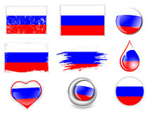 Russian Federation Flag Set. Collection of Russian Federation Flag Symbols Over White Background Royalty Free Stock Image