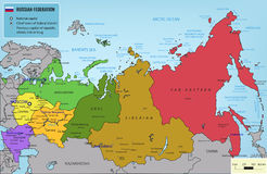 Russian Federation map with selectable territories. Vector Royalty Free Stock Photo