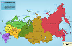 Russian Federation map with selectable territories. Vector Royalty Free Stock Images