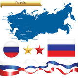 Russian Federation Map And Symbols Set. Vector. Russian Federation Set, Russia Map (Commonwealth of Independent States) With Flag, Badge And Stars, Isolated On Stock Photos