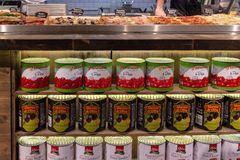 Russian Federation. Moscow. 28.03.2019. Grocery Around the World. Tin cans with tomato paste and olives royalty free stock image