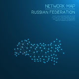 Russian Federation network map. Abstract polygonal map design. Internet connections vector illustration Royalty Free Stock Images