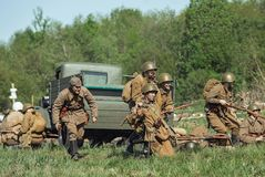 Military historical reenactment `Forgotten feat. Second shock army` stock photo