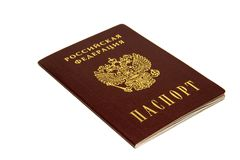 The Russian Federation and the passport are written in Russian. Document. Russian passport on white background. Isolated royalty free stock photo