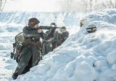 Military historical reenactment «Feat of Alexander Matrosov» royalty free stock image