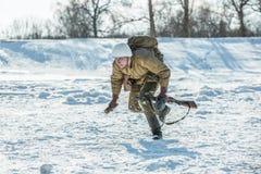 Military historical reenactment «Feat of Alexander Matrosov». Russian Federation, Pskov district, Velikie Luki - 23 February 2018: military historical Royalty Free Stock Photo