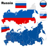 Russian Federation   set. Detailed country shape with region borders, flags and icons isolated on white background Stock Image