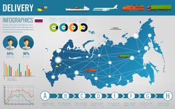 Russian Federation transportation and logistics. Delivery and shipping infographic elements. Vector Royalty Free Stock Photos