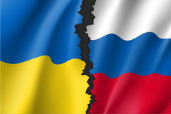 Russian Federation and Ukrainian crisis. Break between Russian and Ukrainian national flags. Symbolic vector illustration conflict of countries. Separation Stock Photos