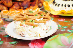 Russian festive dish with mayonnaise and crackers Royalty Free Stock Photo