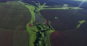 Russian field from the air stock video footage