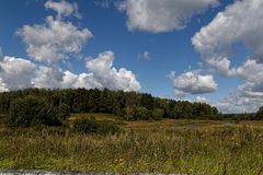 Russian field. Near Moscow suburbs,Clouds, field and lake Royalty Free Stock Photography