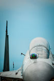 Russian fighter with gloomy sky background. Stock Images