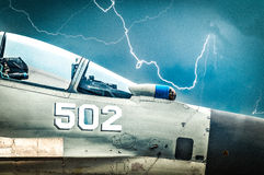 Russian fighter with gloomy sky background. Royalty Free Stock Photos