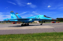 Russian fighter on the runway Stock Photography
