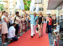 Russian Film Festival. Torrevieja, Spain - July 1, 2017: Crowd of people on the opening of Russian Film Festival in the Torrevieja city. Costa Blanca. Spain royalty free stock photography