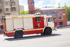 Russian fire truck. Fire truck move along an road royalty free stock photos