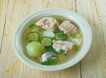 Russian fish solyanka soup. With salmon Royalty Free Stock Photo