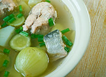Russian fish solyanka soup. With salmon Royalty Free Stock Images
