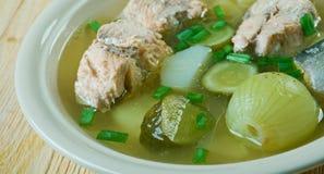 Russian fish solyanka soup. With salmon Royalty Free Stock Photos