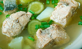Russian fish solyanka soup. With salmon Stock Photo