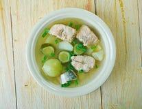 Russian fish solyanka soup. With salmon Stock Photography