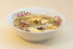 Russian fish soup with Pacific saury (Cololabis saira) - seafood in Russian Far Eastern  Cuisine Stock Photo