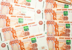 Russian five-thousand  ruble banknotes. Royalty Free Stock Photo