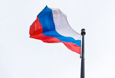 Russian flag. Photo developing the wind Russian flag royalty free stock images