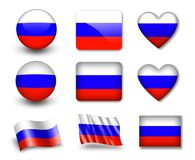 The Russian flag. Set of icons and flags. glossy and matte on a white background Royalty Free Stock Photography