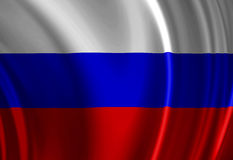 Russian flag. Waving in the wind Stock Photo