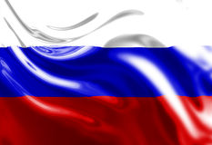 Russian flag. Waving in the wind Stock Photos