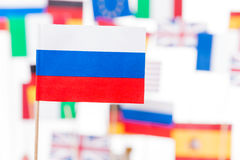 Russian flag against European Union members flags Royalty Free Stock Photography