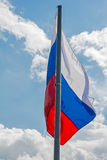 Russian flag on the beautiful sky Stock Photography